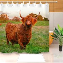 Highland Cow 3D Print Shower Curtain Polyester Fabric Bathroom Curtain Waterproof Hook Bath Curtain 01(China)