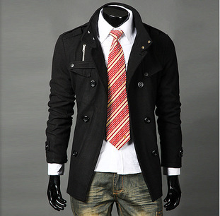 Spring New Style Double Breasted Stand Collar Epaulette Mid-length Woolen Coat Large Amount MEN'S Coat F17