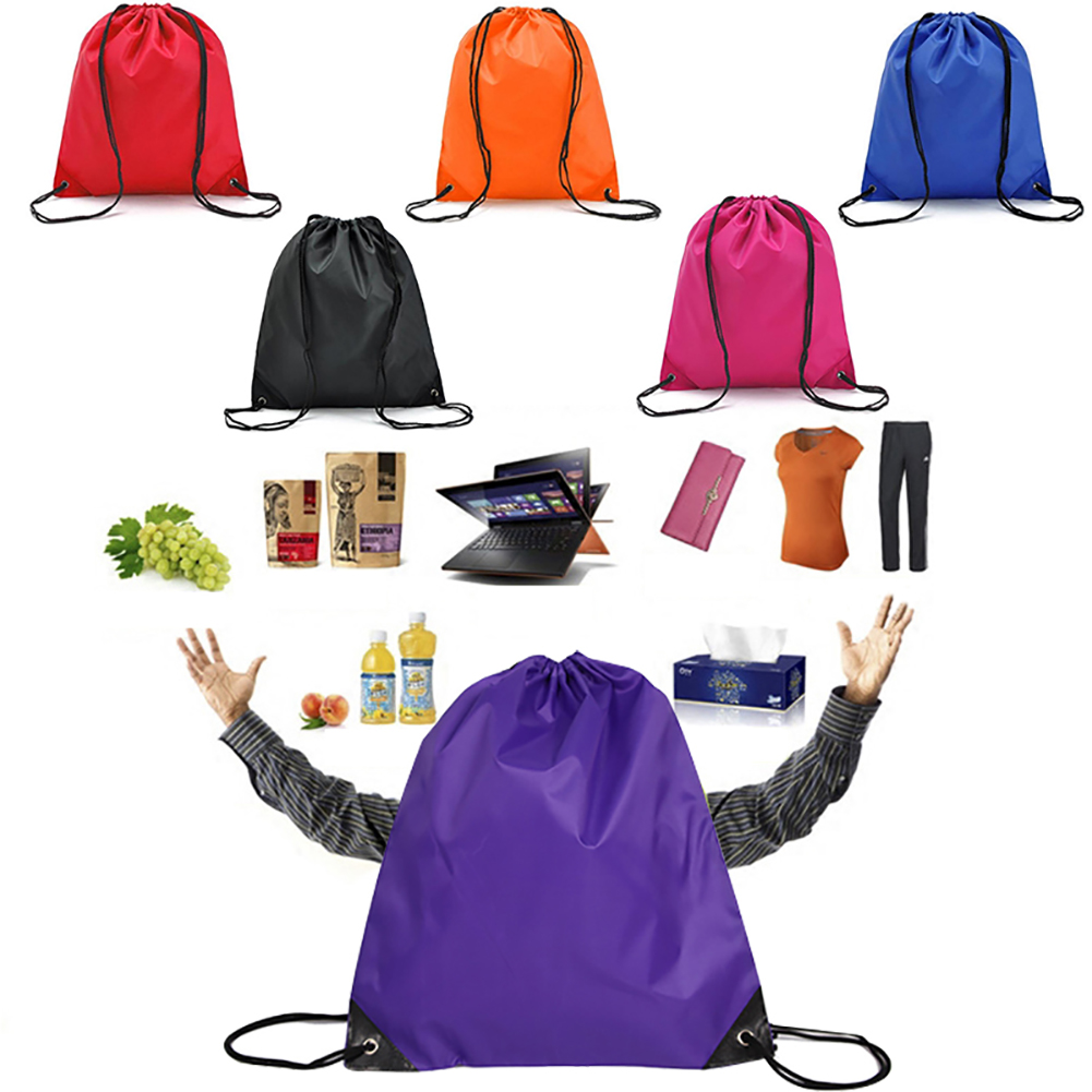 1 Pc New Fashion Drawstring Bag Nylon Draw String Backpack Plain OR Personalised Sports Gym Bag Shoe Sack Clothes Organizer