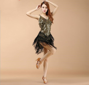 Image 2 - Wholesale Women Fringe Latin Dresses Girls Competition Tassel Dance Performance Costume Golden Cheap On Sale