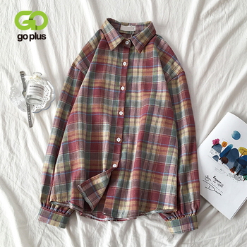 Spring Women's Blouse Shirt Vintage Plaid Red Turn-down Collar Long Sleeve Blusas Womens Tops and Blouses Ropa Mujer