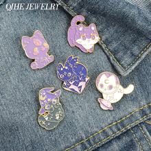 Moon Cat Enamel Pin Purple Wizard Hat Wild Witch Crystal Space Cat with Wing Kitten Brooches Magic Jewelry for Women
