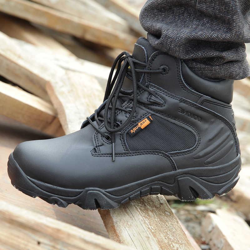 Açık yürüyüş trekking ayakkabıları erkekler nefes deri düşük üst taktik askeri asker botu tırmanma kamp spor ayakkabı adam