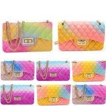 2020 New Fashion Women Ladies Jelly Chain Bag Women's Rainbow PVC Bag Shoulder Bag Handbag