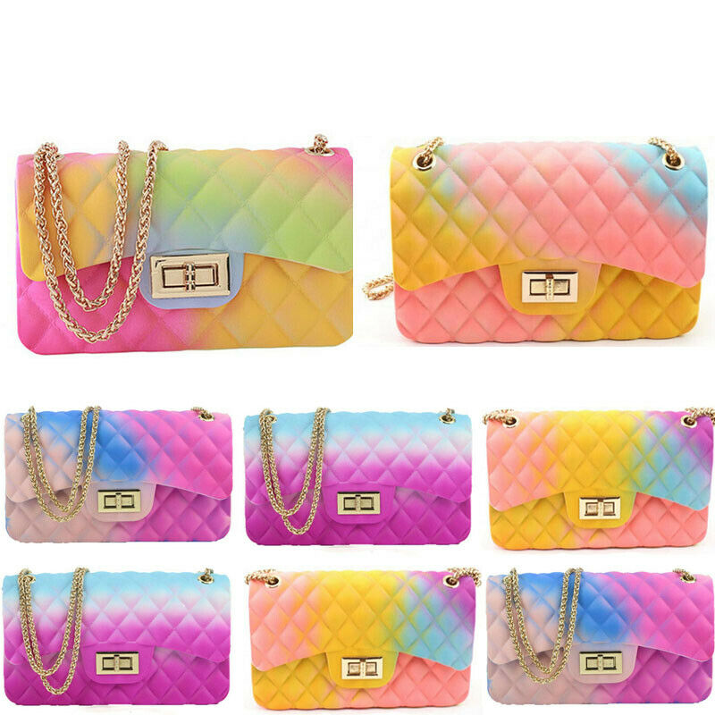 New Fashion Women Ladies Jelly Chain Bag Women's Rainbow PVC Bag Shoulder Bag Handbag