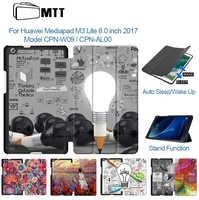 MTT PU funda de cuero para Huawei MediaPad M3 Lite 8,0 pulgadas CPN-W09 CPN-AL00 Folio Flip magnético inteligente soporte funda protectora