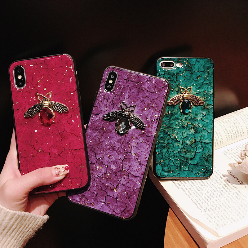 <font><b>Gold</b></font> Foil Glitter Soft TPU Case For Huawei P20 P30 Pro <font><b>Honor</b></font> 8X 7X 9X <font><b>9</b></font> 10 <font><b>lite</b></font> 20 pro mate 30 P smart 2019 3D Bee Marble Cover image