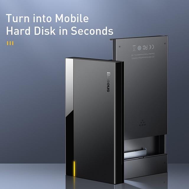 Baseus HDD Case 2.5 SATA to USB 3.0 Type C 3.1 Adapter HDD Enclosure External Hard Disk Case 6TB HD Hard Drive SSD HDD Box Caddy 5
