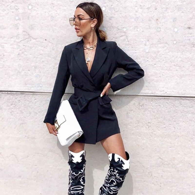 Fashion Women OL Top Bodycon Blazer Elegant Double Breasted Belt Long Sleeve Coat High Waist Dress Ladies Streetwear Plus Size