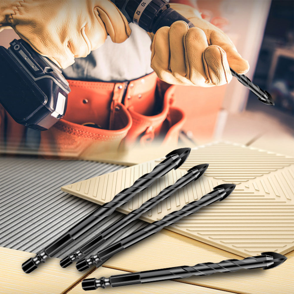 BINOAX Glass Drill Bit Set Alloy Carbide Point With 4 Cutting Edges Tile & Glass Cross Spear Head Drill Bits