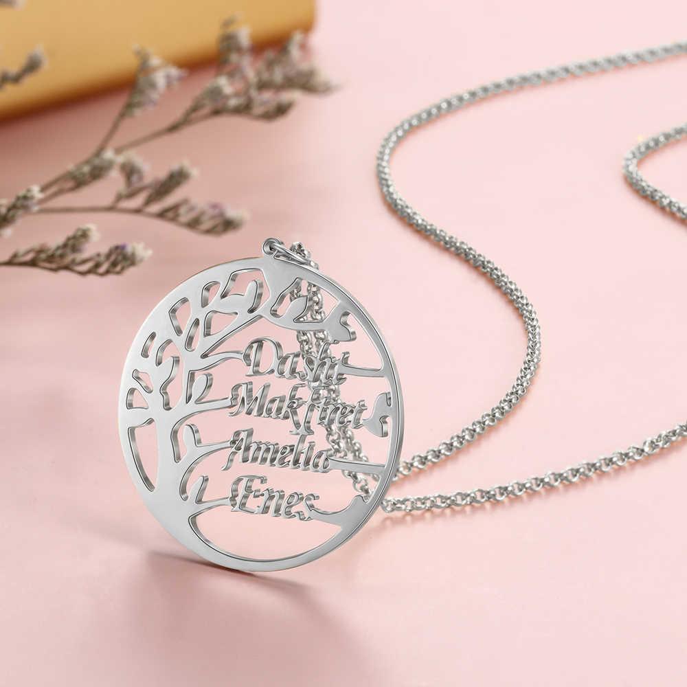 CUSTOM 4 ชื่อสร้อยคอแฟชั่นของ Tree Of Life สร้อยคอจี้เครื่องประดับสำหรับครอบครัวสำหรับอุปกรณ์เสริมสำหรับผู้หญิง
