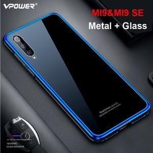 Funda protectora completa Vpower 360 para Xiaomi mi 9, carcasa de parachoques de Metal, funda de vidrio templado para teléfono para Xiaomi mi 9, funda trasera a prueba de golpes