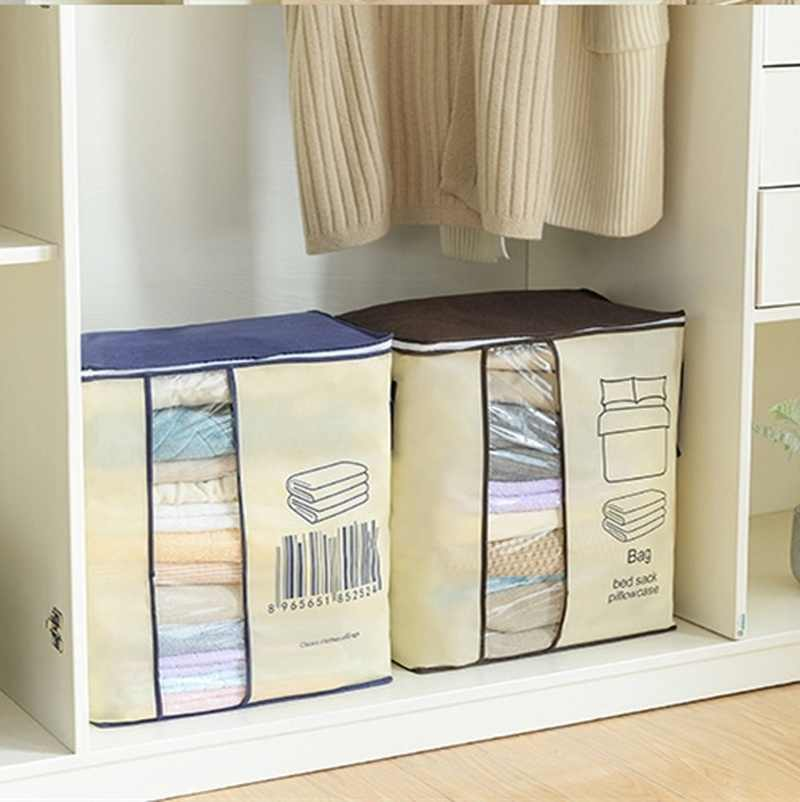 Non-Woven Family Save Space Organizador Bed Under Closet Storage Box Quilt Bag Holder Organizer Clothes Divider Organiser