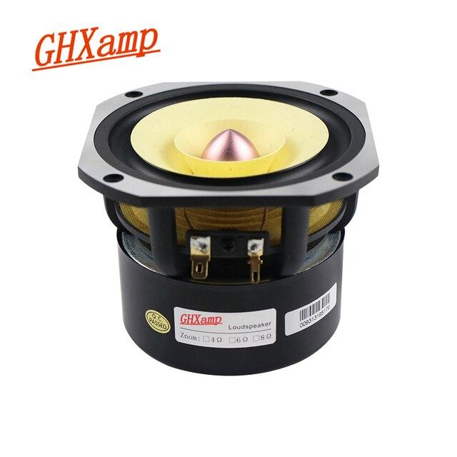 Ghxamp 4 inch Full Range Speaker 4ohm 25W Hifi Full Frequency Loudspeaker HomeTheatre 91DB Bullet Rubber Edge Cast Aluminum 1pc
