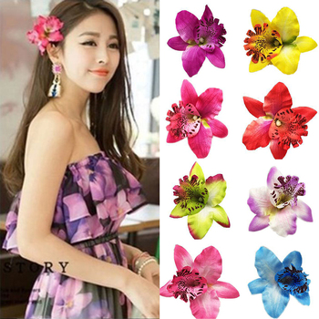 1PC Women Chic Fashion Flowers Hair Clips Gift Sand beach Colorful 10 Colors Handmade Butterfly Orchid Vacation accessories