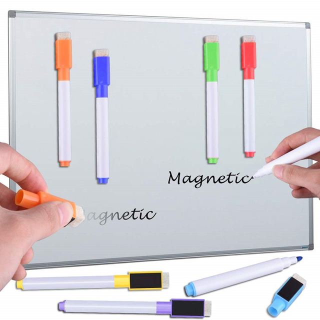 8pcs water-colour brush Whiteboard Marker Pens White Board Dry-Erase Pen with Eraser Magnetic Markers Writing Water Color Pen 2