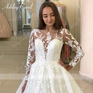 Image 5 - Ashley Carol Long Sleeve Princess Wedding Dress 2020 Tulle Bride Dresses Chapel Train Appliques Bridal Gowns Vestido De Noiva