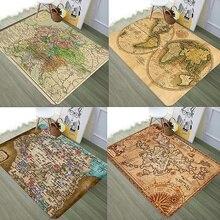 Alfombra de gamuza de gran calidad Vintage mapa del mundo mapa náutico encriptado alfombras antideslizantes suave cómoda alfombra de suelo transpirable
