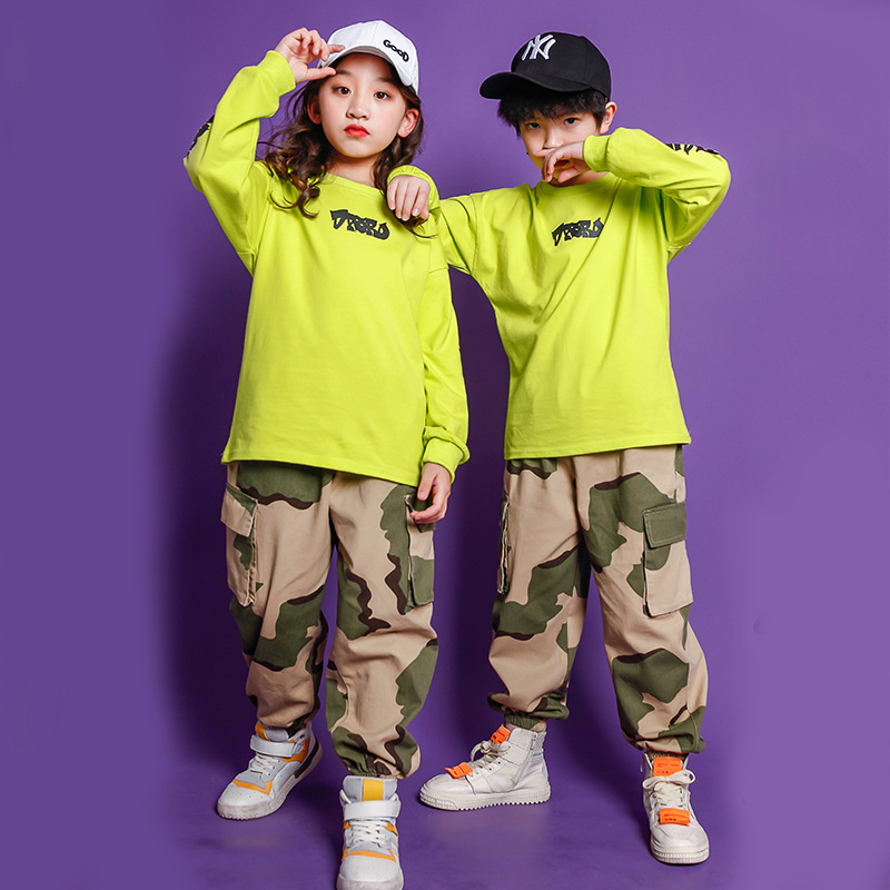 Kids Street Dance Costumes Camouflage Jazz Performance Suit Hoodies Clothes