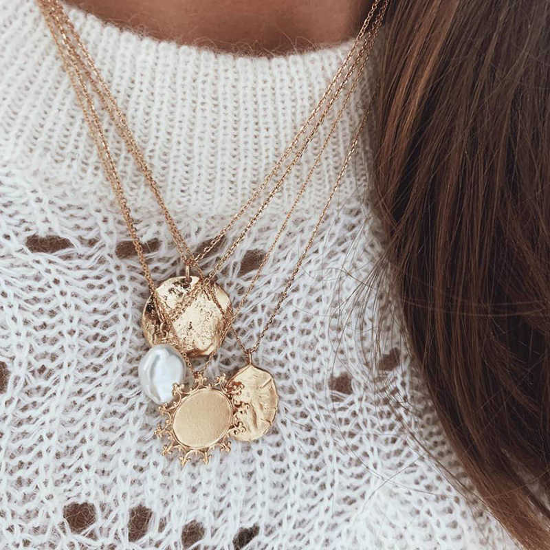 YOBEST Vintage Coin Necklace For Women Fashion Gold Color Necklace Multiple Layers Pendant Long Necklaces Boho Jewelry