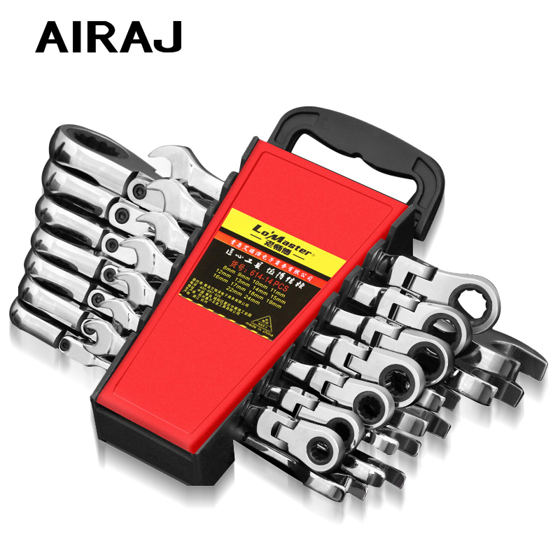AIRAJ8-19mm Wrench Set Dual Purpose Ratchet Multifunction Adjustable Torque Wrench Universal Wrench Car Repair Tool With Storage