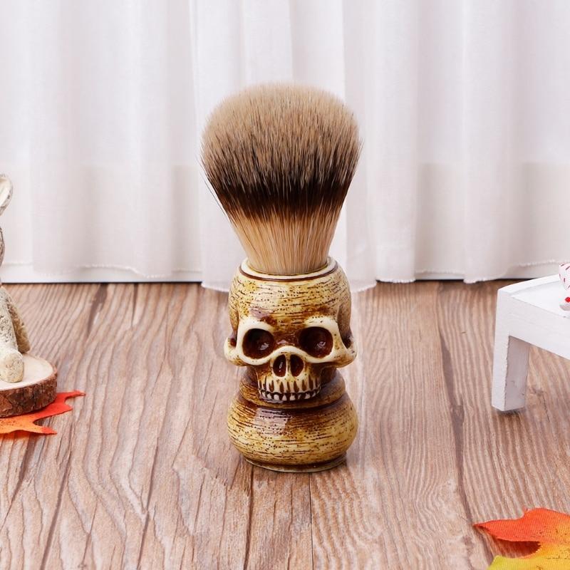 2019 NEW Shaving Brush Badger Bristle Hair Skull Hand Made Wooden Handle -Men's Gift Q0KD