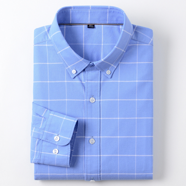 Men's Fashion 100% Cotton Oxford Plaid Striped Shirts Single Patch Pocket Long Sleeve Standard-fit Outerwear Casual Work Shirt