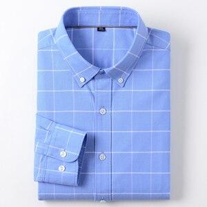 Image 1 - Moda masculina 100% algodão oxford xadrez listrado camisas único remendo bolso manga longa padrão ajuste outerwear camisa de trabalho casual