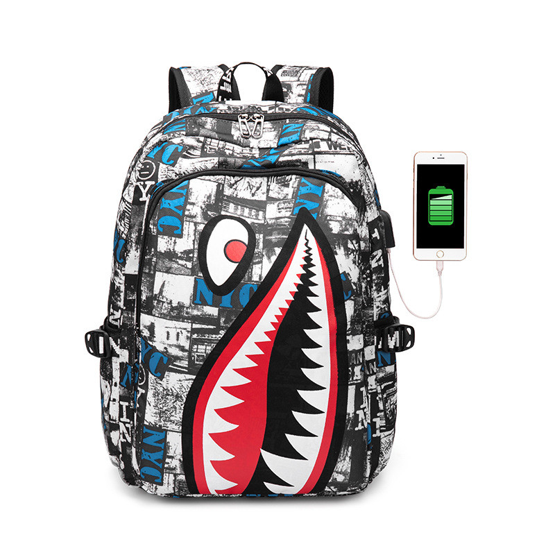 Kids Cartoon Shark School Bags Mochilas Children's School Bag For Teen Boys Girls USB Charging Laptop Backpack Bolsa Feminina