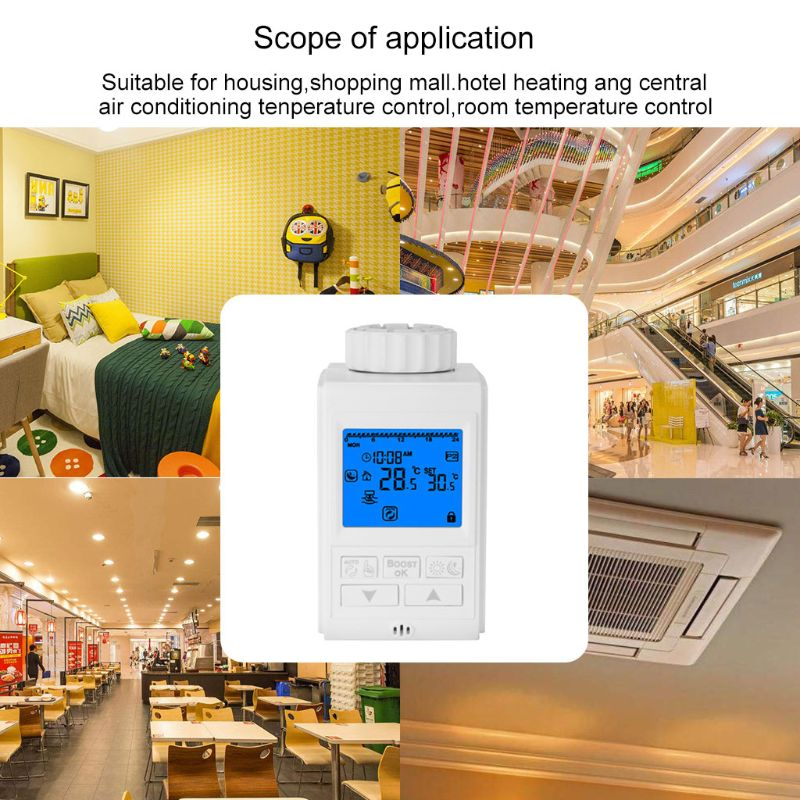 Programmable Thermostat Timer TRV Radiator Valve Actuator Temperature Controller