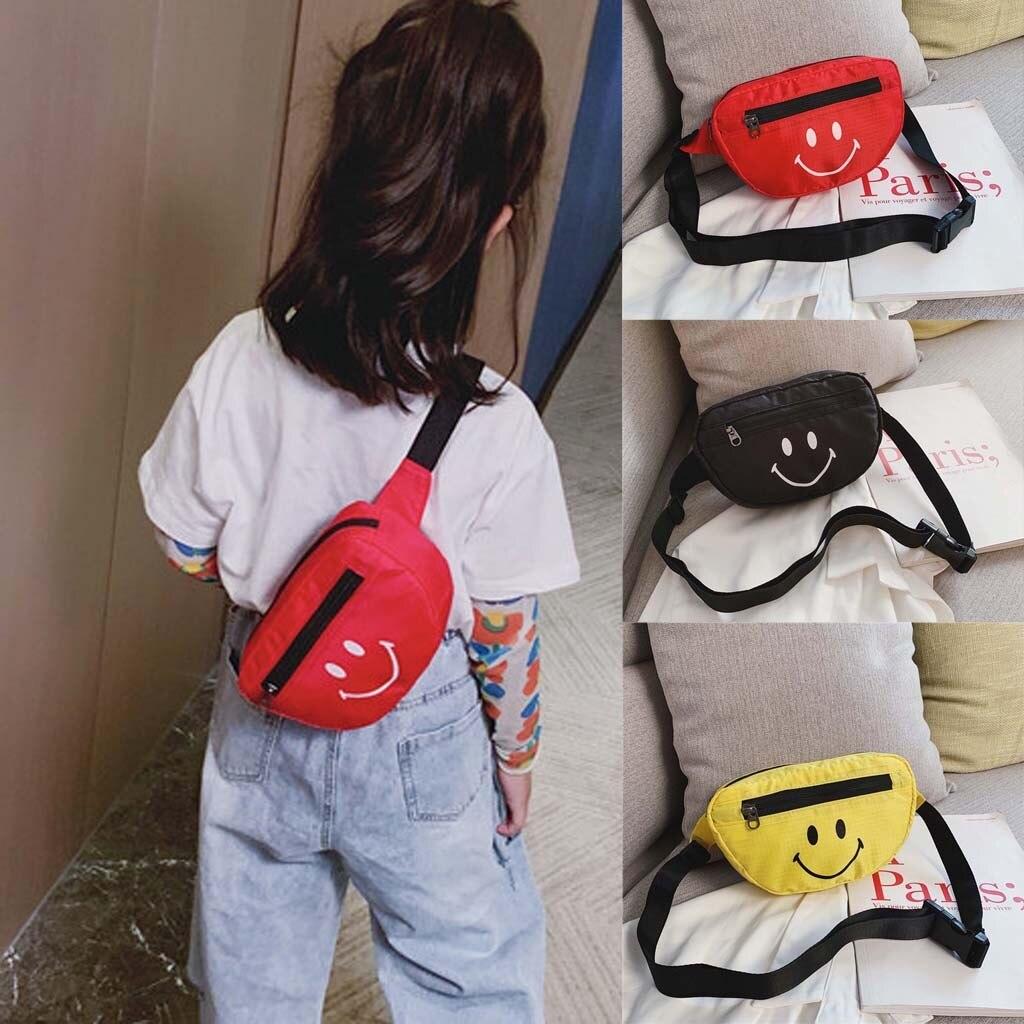 New Fashion Children Girls Smile Face Shoulder Messenger Money Bag Sac Banane Fashion Chest Bag Pochete Light Pockets 2019 #C10