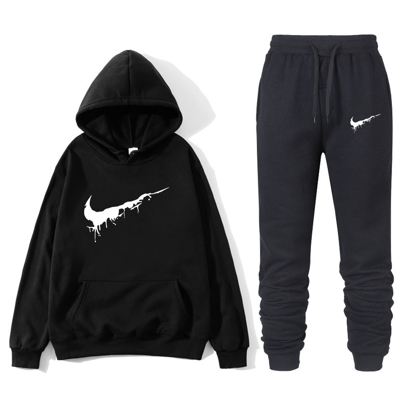 Brand Clothing Men's Casual Sweatshirt Pullover Quality Men's Sportswear Hoodie Two-piece + Sweatshirt Autumn And Winter Suit