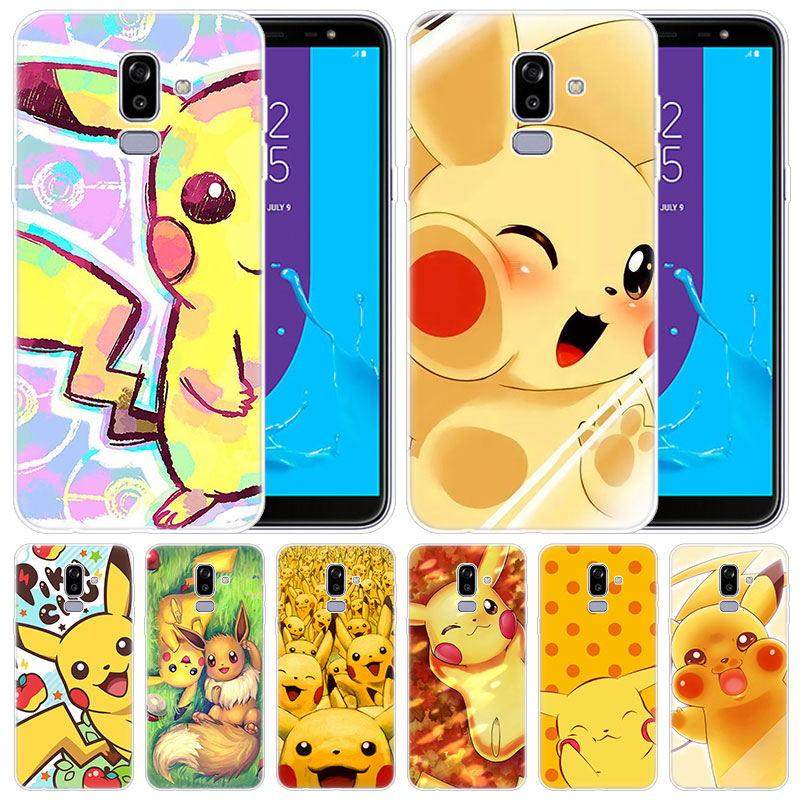 luxury Silicone Case Anime Pokemon eevee Pikachu for Samsung Galaxy J8 J7 J6 J4 J2 2018 Core J3 2016 J5 2017 EU J4 Plus J7 Prime image