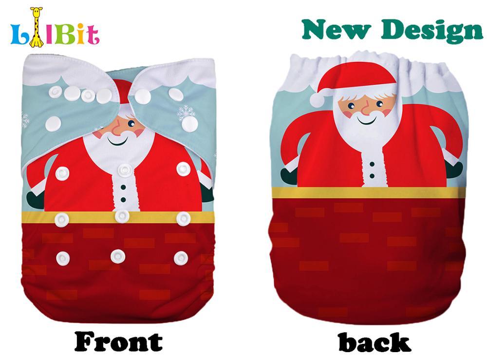 1 PC Reusable Holiday Christmas Print Baby Pocket Cloth Diaper Cover