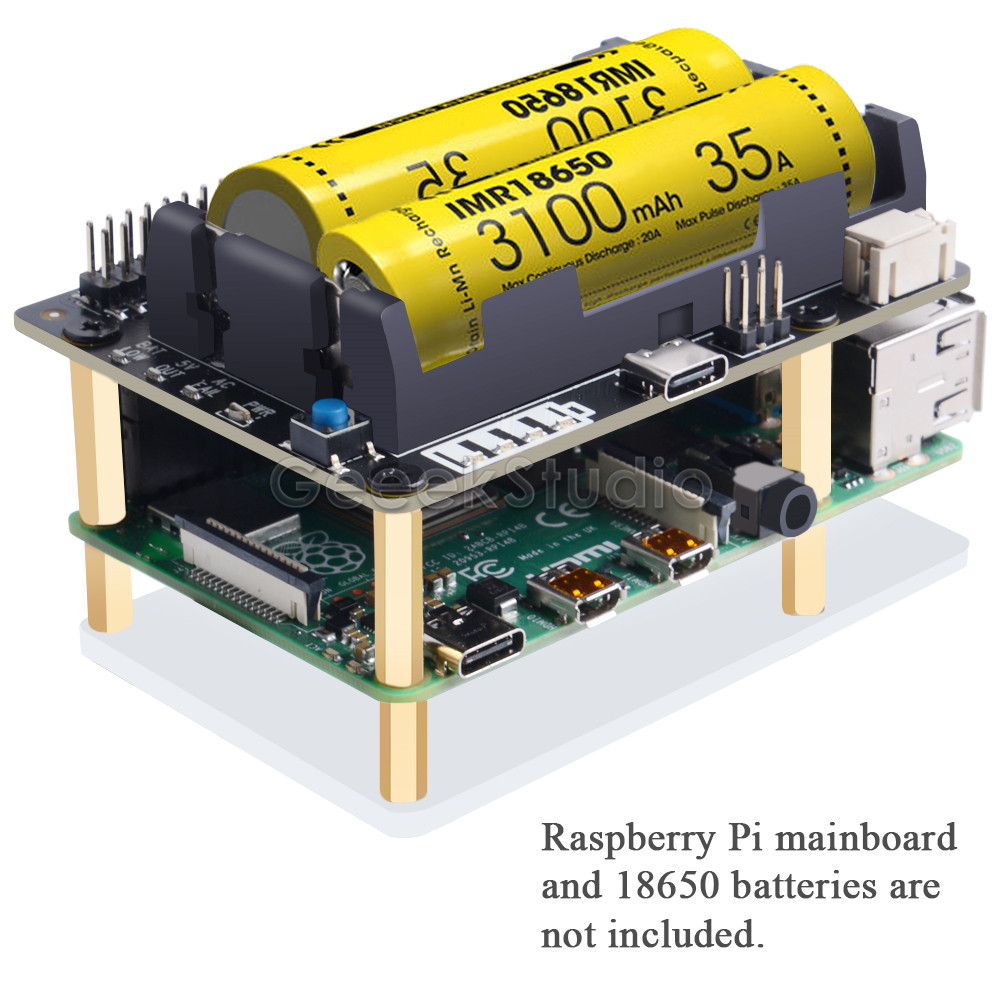 Raspberry Pi 4B/3B+/3B X728 UPS HAT& Power Management Board With AC Power Loss Detection, Auto On & Safe Shutdown Function