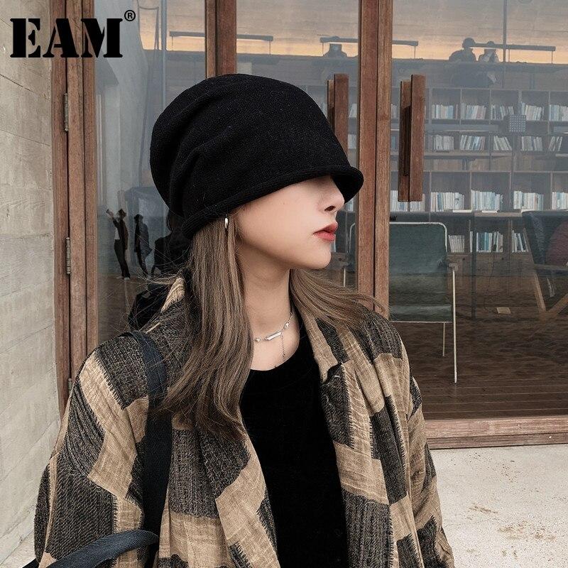 [EAM] Women Black Gray Knitting Fishermen Hat New Round Dome Temperament Fashion Tide All-match Autumn Winter 2021 1DD1555