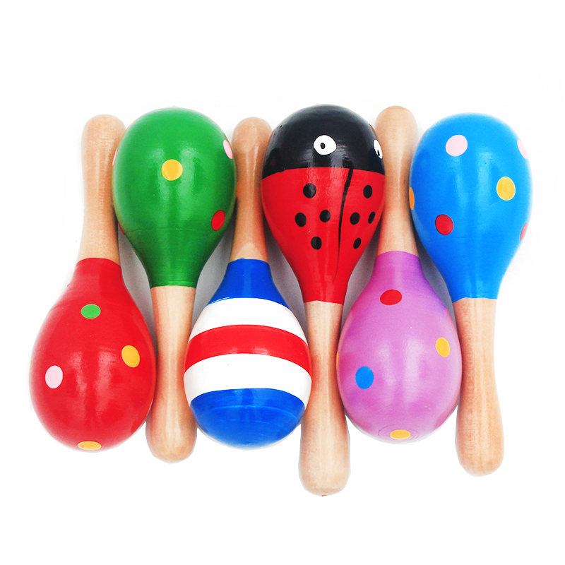 1Pc 12x4cm Infant & Toddlers Wood Sand Hammer Wooden Maraca Rattles Sand Hammer Kids Musical Party Favor Child Baby Shaker Toy(China)