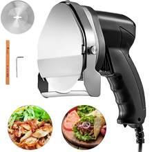 Fatiador de carne de churrasco elétrico, faca automática doner keb, fatiador de barril elétrico com 2 lâminas para corte shawarma doner keub