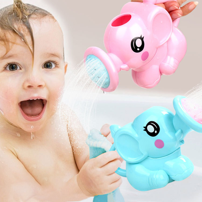Baby Bath Toys Lovely Plastic Elephant Shape Water Spray for Baby Shower Swimming Toys Kids Gift Storage Mesh Bag Baby Kids Toy