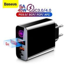 "Baseus טעינה מהירה 4.0 3.0 USB מטען עבור iPhone Xiaomi סמסונג Huawei SCP QC4.0 QC3.0 QC C פ""ד מהיר קיר טלפון נייד מטען"