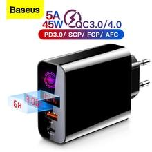 Baseus Quick Charge 4,0 3,0 USB Ladegerät Für iPhone Xiaomi Samsung Huawei SCP QC 4,0 QC 3,0 QC C PD schnelle Wand Handy Ladegerät