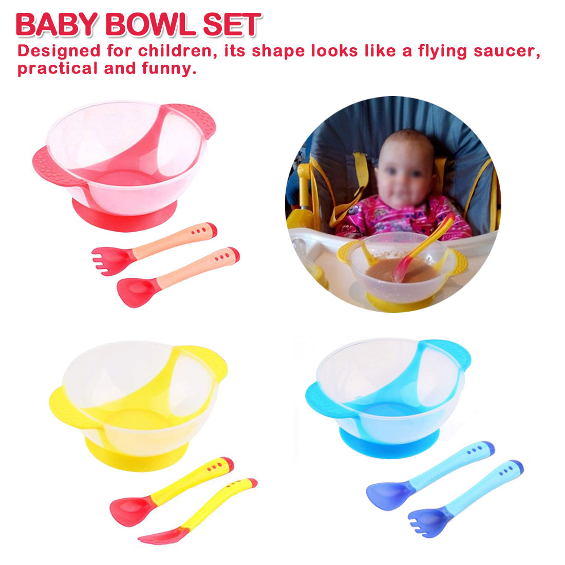 Child Tableware Food Bowl Learning Dishes Service Plate/Tray Suction Cup Baby Dinnerware Set Temperature Sensing Feeding Spoon