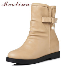 Meotina Autumn Ankle Boots Women Pearl Height Increasing Short Pleated Round Toe Shoes Ladies Winter Plus Size 33-43