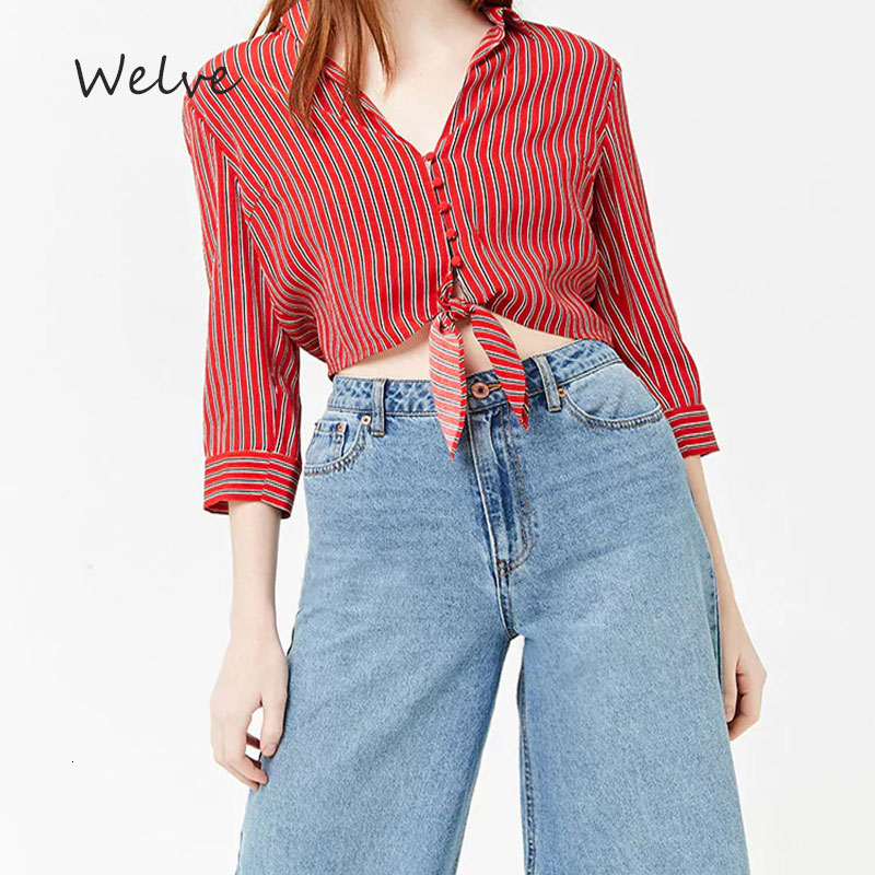 Welve Blouse Women Womens Tops And Blouses Woman Shirt Red Striped Shirt Professional Business Elegant