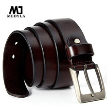 MEDYLA brand casual pants belt for men high quality natural cowhide full polished male belt for jeans casual pants mens gift
