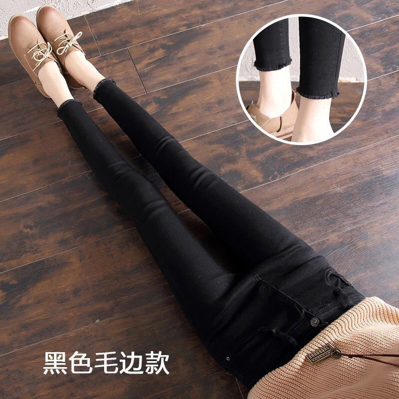 High-waisted Plus Velvet Jeans WOMEN'S Pants Thick Warm Outer Wear Tight-Fit Skinny Pants Winter Korean-style Slimming Pencil Pa