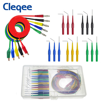 Cleqee P1920 Alligator clip to Banana plug test lead test probe connect to 4mm banana plug for electrical back probe kit p1920 20pcs set back probe kit alligator clip to 4mm banana plug multimeter test lead 30v 10a for automotive tool