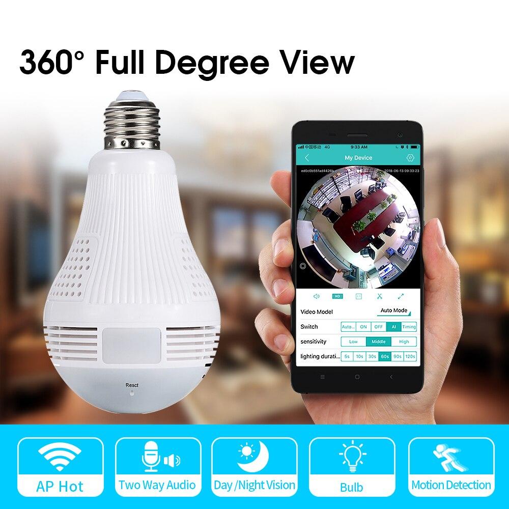 960P 360 Degree LED Light Wireless Wifi Camera Home Security WiFi Fisheye Camera Bulb Lamp IP Camera Two Ways Audio CM.V2
