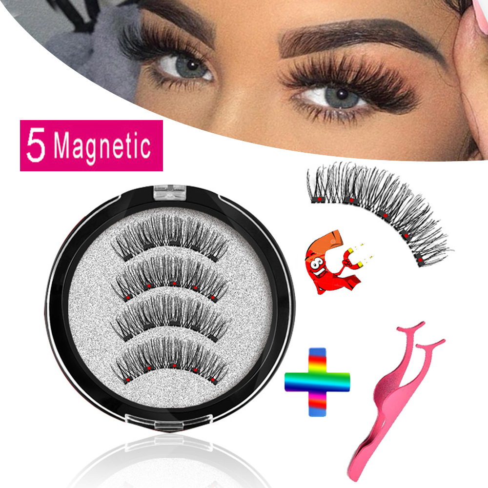 MB Magnetic <font><b>Eyelashes</b></font> With 5 Magnets 3D False Lashes Natural For Mink <font><b>Eyelashes</b></font> Extension Long Reusable faux cils magnetique 22P image