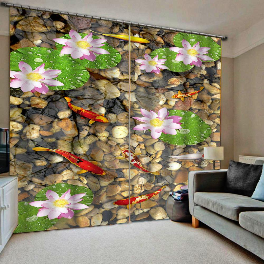 3D Curtains stone lotus Curtains For Living Room Bedroom Window Treatment Hotel Thermal curtains